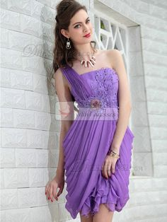 cdd371478d Purple One Shoulder Above Knee Beaded Prom Ball Cocktail Party Dress -  Merpher.