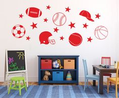 Sports decals Kids wall stickers for boys Sports stickers Removable vinyl wall decals  sc 1 st  Pinterest & Repositionable Train Track Wall Sticker Decal Kit for Boys Room ...