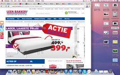Een website gelijksoortig aan die van de Ikea. Zelfde opbouw, zelfs zelfde blauwe kleur, ook meteen grote afbeelding van een meubel op de homepage.