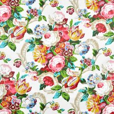 Waverly Spring Bling Spring Fabric Floral   Content:100% Cotton  Width:54  Horizontal Repeat:12.5  Vertical Repeat:27  Country of Origin: USA  Finish: Chintz  Collection: Lush Season  Care: Dry Cleaning Recommended   Spring Bling Spring by Waverly is a stunning floral drapery décor fabric. This fabric can be used for projects like throw pillows, drapes, home accents, and more. Colors include blue, green, pink, purple, red, tan, white, yellow.