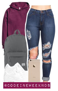 """""""1/1/16"""" by codeineweeknds ❤ liked on Polyvore featuring H&M, Herschel Supply Co. and NIKE"""