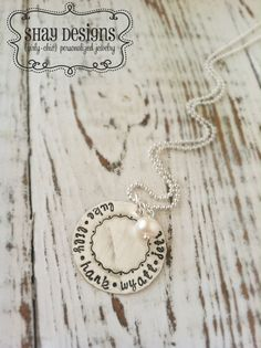 Stamped Mothers Grandmothers Scrolly Border by ShayDesignsJewelry Custom Name Necklace, Personalized Jewelry, Hand Stamped, Washer Necklace, Girly, Pendants, Grandmothers, Trending Outfits, Unique Jewelry