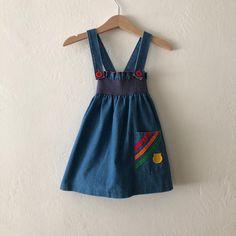 76d88a4d8 Vintage Girls Denim Dress, Vintage Toddler Dress, Vintage Baby Girls Dress  Size 2t 3t