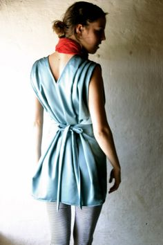 Aqua Satin folded dress SALE by larimeloom on Etsy, via Etsy.