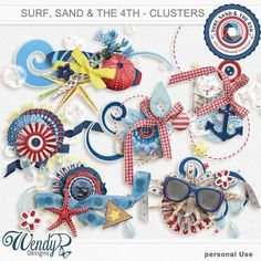 Promotions :: Featured Coordinated Collection :: Surf, sand and the 4th - Clusters