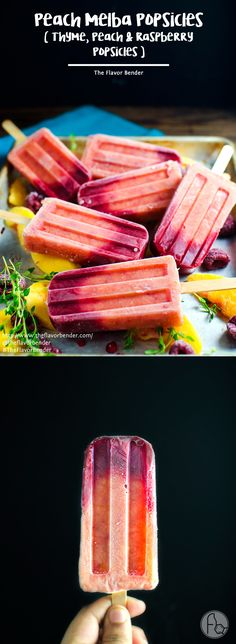 Peach Melba Popsicles (Thyme, Peach and Raspberry Popsicles)