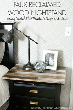 Easily give your side table a rustic look using ScotchBlue Tape, a wood slab and stain! 2