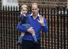 Britain's Prince William and his son Prince George wave as they return to St. Mary's Hospital's exclusive Lindo Wing, London, Saturday, May 2, 2015. William's wife, Kate, the Duchess of Cambridge, gave birth to a baby girl on Saturday morning. via @stylelist