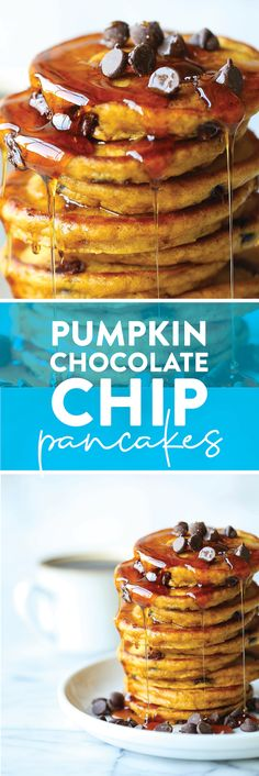 Pumpkin Chocolate Chip Pancakes - The most amazing pumpkin pancakes – so light + fluffy and made with semisweet chocolate chips. PERFECTION.