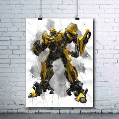 Bumblebee - Bumblebee Printables - Transformers - Bumblebee Print - Bumblebee Poster - Watercolor Print - Transformers Wall Art - Printables - pinned by pin4etsy.com