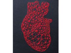Red Heart Anatomy. Hand Embroidered Japanese by FabulousCatPapers