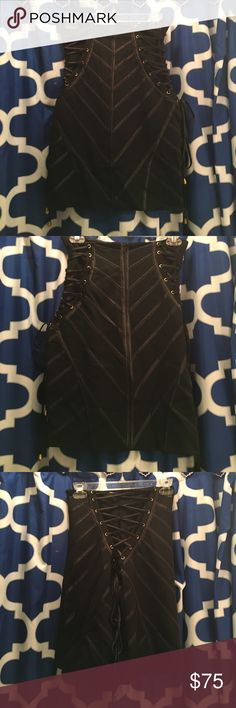 High waist jovani skirt SUPER SEXY high waist Jovani skirt in black! The back has a zipper and both sides lace up! Super sexy and stretchy and never been worn! Jovani Skirts