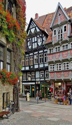 Market square of Quedlinburg in Saxony . Anhalt, Germany