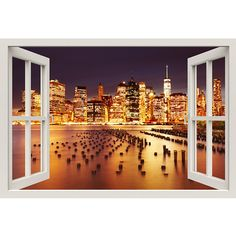 Window Frame Mural New York City Huge size Peel and Stick