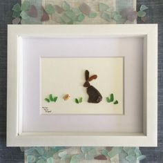 Baby Bunny with Little Chickie Easter Décor Sea Glass Art