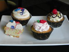 #Glutenfree Cupcakes of the week 8.25.14  Confetti - Classic vanilla cupcake with a party on the inside and out.  Topped with sweet vanilla buttercream  DF Strawberry Lemonade - Our sweet lemon cupcake, topped with a tart strawberry lemon dairy free frosting.  Banana Split - A moist banana cupcake with a swirl of classic vanilla buttercream.  Topped with a decadent chocolate fudge, sprinkles, walnuts and a sweet cherry. Sweet Ali's Gluten Free Bakery Hinsdale, IL