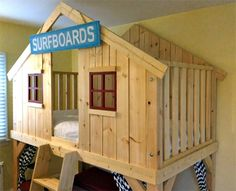 loft bed playhouse or clubhouse for little boy or little girl