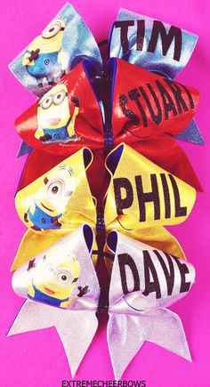 despicable me cheer bows how come these are so awesome I would get this for my stunt group