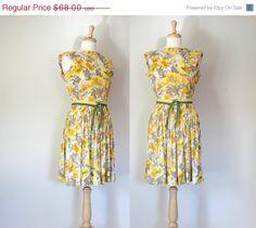 SALE Vintage Dress / 50s Dress / Floral Day Dress / Cohen Bros