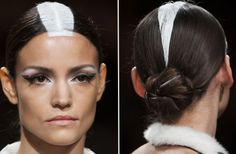 ON AURA TOUT VU: Best eye liner of couture season, plus cool painted hair. (And more white eye shadow!)