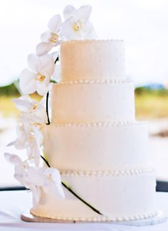 Eye-catching Orchids    Largo, Florida-based Chantilly Cakes designed Betsy and John's wedding dessert, which was decorated with a dramatic spray of fresh orchids.    PHOTO: COURTESY OF GINA LEIGH PHOTOGRAPHY