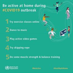 Physical activities at home and stay ! Here are some physical activities you can do at home during outbreak: 🤸Try exercise classes online 💃Dance to music 🎮Play active video games 🤾Try skipping rope 💪Do some muscle strength & balance training Mental Health Benefits, International Health, Skipping Rope, Hygiene, Health Advice, Health Quotes, Health And Safety, Physical Activities, Tricks