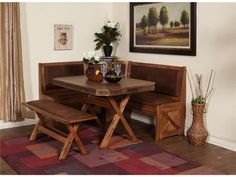 Modern Rustic Wood Corner Bench Kitchen Idea With Wood Square Shaped Table With X Base And