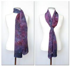 Hand Dyed Silk Scarf. Abstract shibori scarf. by AstaSilkWorld