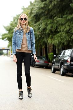 Jcrew Denim Jacket, Black Skinny Jeans, Chloe Susanna Booties
