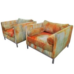 Large Club Chairs in Original Jack Lenor Larson Tie-Dyed Velvet. Comfortable aluminum based club chairs in outrageous original Jack Lenor Larson fabric with additional bolsters, ca.1960's