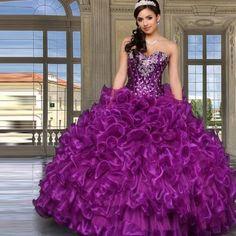 vestido festa de 15 anos roxo com babados