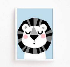 Cute Lion Baby Poster kawaii Printable art kids room wall art