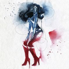 Wonder Woman - Superhero Art Silk Fabric Poster Print inch Watercolor Minimalism Picture for Living Room Wall Decor 08 Amazons Wonder Woman, Street Art, Female Superhero, Desenho Tattoo, Marvel, Comic Art, Watercolor Paintings, Watercolors, Artsy