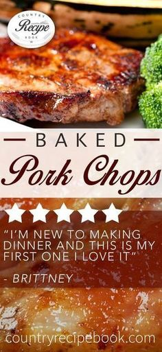 Delicious Baked Pork Chops- Perfect combination of Country style flavors with amazing results. Pork Chop Recipes, Meat Recipes, Baking Recipes, Healthy Recipes, Recipes With Pork Chops Easy, Vegetarian Recipes, Pork Meals, Dinner Recipes, Recipes