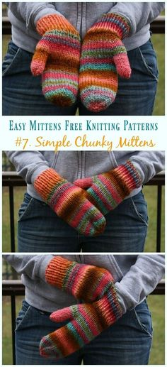 Simple Chunky Mittens Knitting Free Pattern - Easy Free Patterns Quick & Easy Mittens Free Knitting Patterns: Classical Mittens, Traditional Mitten gloves, simple knitting mittens, mitts gift all sizes, kids and adults Crochet Mittens Free Pattern, Chunky Knitting Patterns, Knit Mittens, Knitting Socks, Free Knitting, Crochet Patterns, Mitten Gloves, Easy Patterns, Baby Mittens