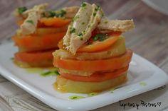 Tapitas y Postres: Milhojas de patata y tomate con mermelada de cebolla