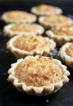 Coconut Tartlets (Scottish Coconut and Raspberry Jam Tarts) - Christina's Cucina Coconut Recipes, Tart Recipes, Sweet Recipes, Baking Recipes, Cookie Recipes, Dessert Recipes, Pastry Recipes, Sweet Pie, Sweet Tarts