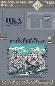 Pi Kappa Alpha Founder's Day Shirt   Fraternity Event   Greek Event #pikappaalpha #pike Pi Kappa Alpha, Louisiana Tech, Founders Day, Fraternity, Greek, Artwork, Shirt, Design, Work Of Art