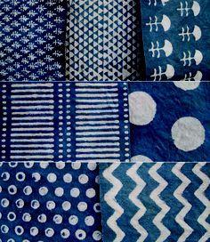 Japanese indigo patterns.