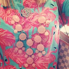 Monogram Necklace, Bubble Necklace, Lilly Pulitzer Dress