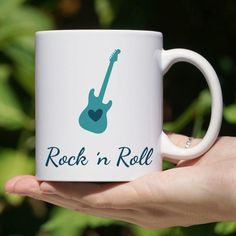 Rock Coffee Mug - Rock Lover - Guitar Heart - Rockabilly - Electric Guitar Guitar Quotes, Coffee Label, Painted Coffee Mugs, Coffee Music, Vintage Coffee Cups, Coffee Heart, Quirky Gifts, Cool Mugs, Brewing Tea