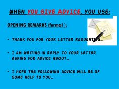 Write A Letter Asking For Advice  Advice