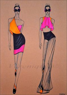 Womens summer collection by Verenique on DeviantArt Dress Design Sketches, Fashion Design Sketchbook, Fashion Design Drawings, Fashion Sketches, Dress Designs, Art Sketchbook, Fashion Drawing Tutorial, Fashion Figure Drawing, Fashion Drawing Dresses