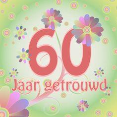 Flowerpower 60 jaar getrouwd.  Design: Vacalet  Te vinden op: www.kaartje2go.nl