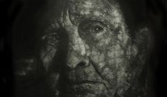 "Gil Gijón - Obra Detalle de ""Vieja"" (2012). 128,5 x 79 cm Punta seca sobre plancha de metacrilato."