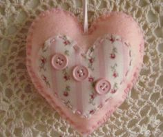 Pink Shabby Chic  Felt Heart by GTcottagecrafts on Etsy, $5.00