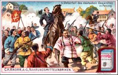 "Restored Graphic - Boxer Rebellion product association was seen as a way to boost sales through a variety of western marketing venues. This one was from C.H. Knorr Foods, citing ""Ambush Of The German Sent To Peking"" to shill its flour. The graphic instantly recalls how German ambassador Clemens Von Ketteler was murdered during the uprising."