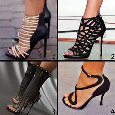 Shoespie Sexy Black Caged Stiletto Heel Gladiator Sandals