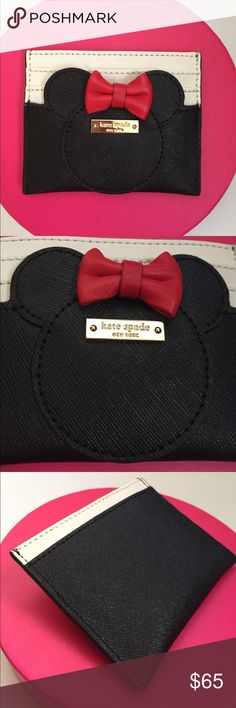 """Kate Spade Minnie Mouse Card Case boasting those iconic ears and an unmistakable red bow, our minnie card case--inspired by our favorite movie mouse--is the perfect place to keep your collection of cards, both credit and business.   MATERIAL crosshatched leather with matching trim bookstripe print on poly twill lining lining 14-karat light gold plated hardware FEATURES cardholder style # pwru4882  DETAILS 3.1"""" h x 3.9"""" w kate spade new york spade stud imported kate spade Accessories Key…"""