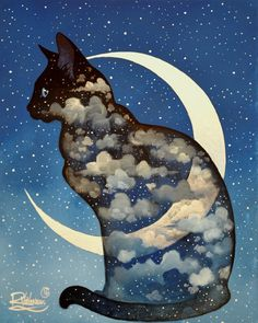 "The Original Painting "" FELINE MOON "" is available now: http://ift.tt/1dFMdtx  La Peinture Originale "" LUNE FÉLINE "" est disponible: http://ift.tt/1QcDD3D  Fine art print: http://ift.tt/1LlOrOz"